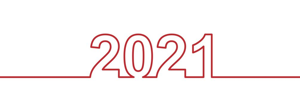Stylized number 2021 for new Year and Christmas greetings. Flat style