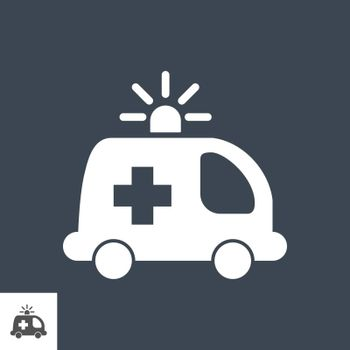 Ambulance Car Glyph Vector Icon. Isolated on the Black Background. Editable EPS file. Vector illustration.