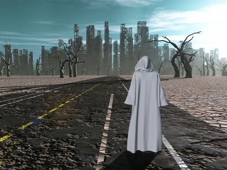 Traveler on road to desolate city