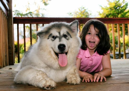 Young girl with dog on outdoor deck playing around with tongues hanging out