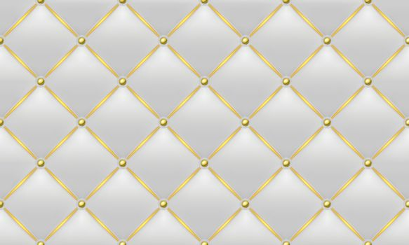 The Gold and White Texture of the Leather Quilted Skin - Background Illustration, Vector