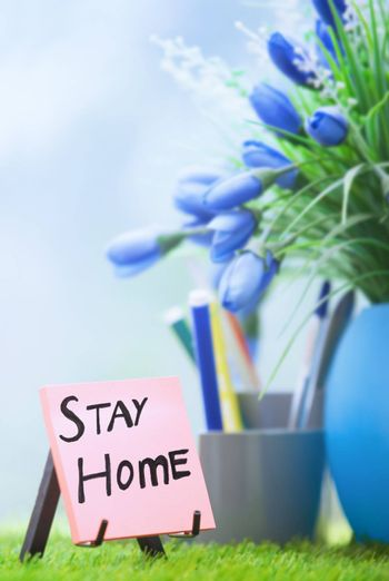 Adhesive note with Stay Home text at the green office