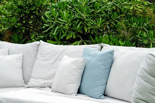 close up Image of Seating sofa cushion in the garden