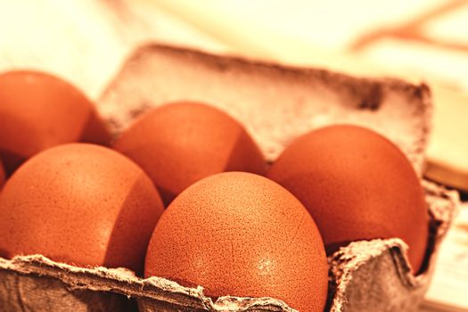 Five eggs in the egg box