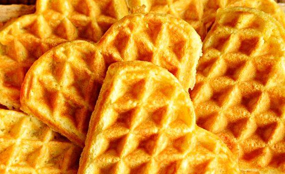 Closeup shot of delicious heart-shaped waffles