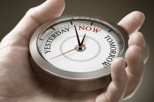Time management. Living in the present moment. Psychology Concep