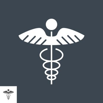 Caduceus Glyph Vector Icon. Isolated on the Black Background. Editable EPS file. Vector illustration.