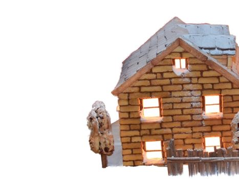 Nearby illustration from a small brick house with a Christmas atmosphere with a fence