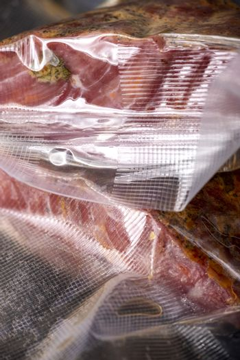 pastrami meat packed in plastic bags