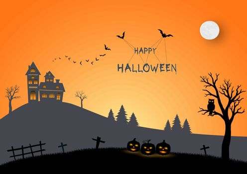 Happy Halloween on paper art and craft style,for advertising,greeting card,brochure,poster or party invitation,vector illustration