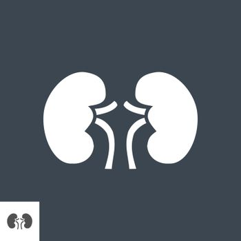 Kidney Glyph Vector Icon. Isolated on the Black Background. Editable EPS file. Vector illustration.