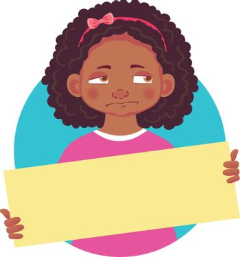 african girl holding blank poster