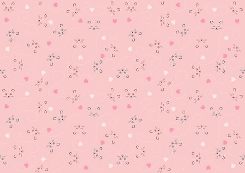 Seamless Baby Pattern with Animal Character and Decorations on Pink Background - Repetitive Print Texture Illustration, Vector