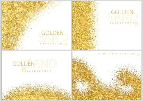 Golden Sand on White Background Collection - Happy New Year or Merry Christmas or Wedding Template, Four Luxury Illustrations, Vector Design Elements