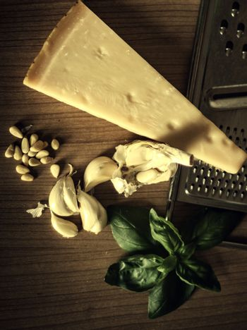 Parmesan cheese with mint and garlic on the table