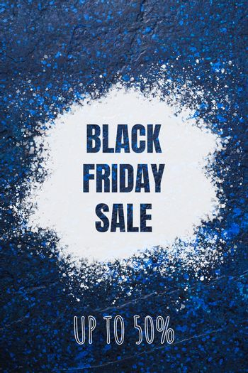 Black Friday sale banner with text up to 50 percent off discount on blue abstract textured background