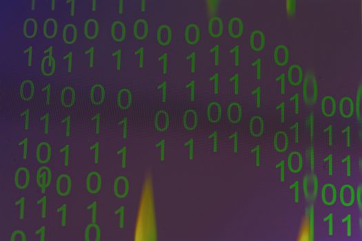 Binary numbers on the laptop screen pixel resolution.