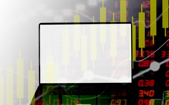 Abstract laptop business concept investment stock market.