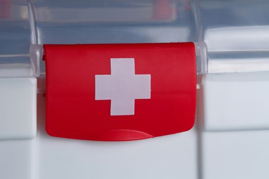 first aid pack on Blue background