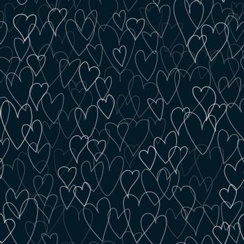Black pattern of hearts. Valentines day hearts vector illustration. Seamless background