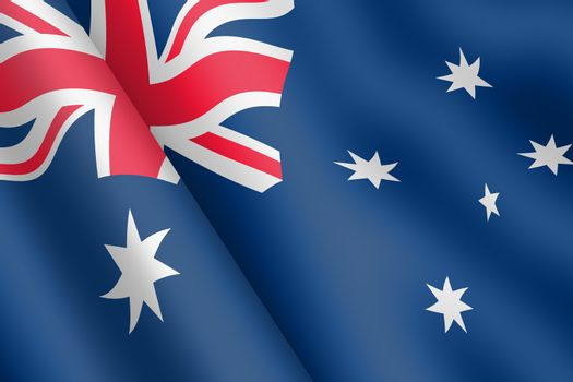 A Australia waving flag 3d illustration wind ripple