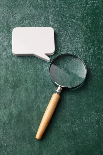 Magnifying Glass and speech bubble