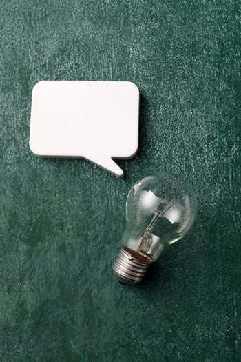 light bulb and the speech bubble