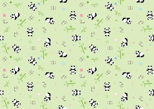Seamless Baby Pattern with Panda Bear and Green Bamboo Plants - Repetitive Print Texture Illustration, Vector