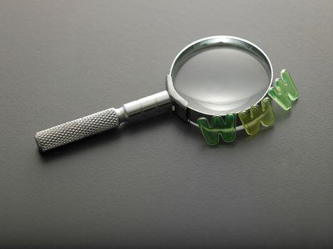 alphabet www beside of magnifying glass