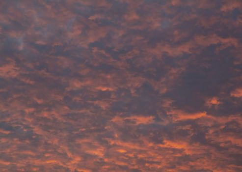 Red fluffy sunset clouds over blue sky