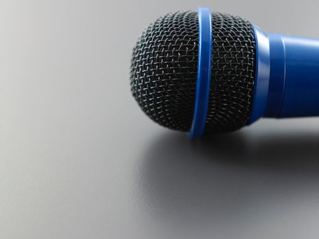 close up of the blue wired microphone