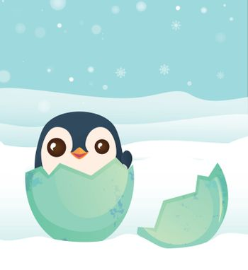 penguin hatched from the egg. Penguin cartoon vector illustration
