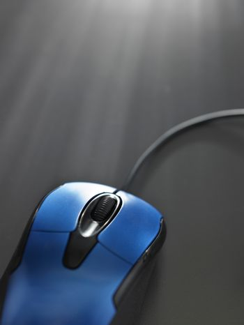 close up blue color wired mouse