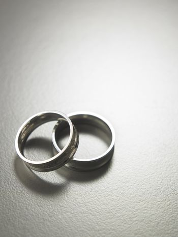 two rings on the gray background