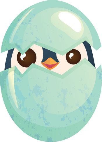 Egg hatching. Cute easter chick in eggshell vector illustration