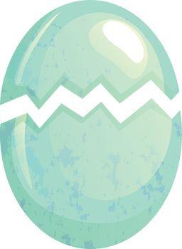 Cracked bird egg. Broken egg shell vector illustration