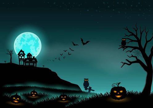 Halloween night background landscape with stars,moon,pumpkins and castle,vector illustration