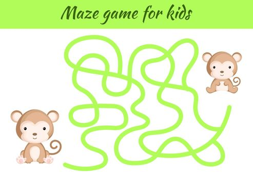 Funny maze or labyrinth game for kids. Help mother find path to baby. Education developing worksheet. Activity page. Cartoon monkey characters. Riddle for preschool. Color vector stock illustration.