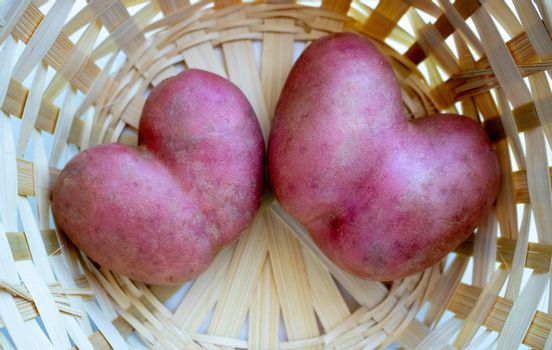 Two red heart-shaped potatoes are in the basket. Potato-heart close-up