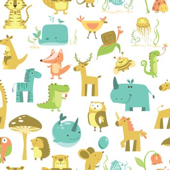 Seamless pattern with animals Cute animals vector. Zoo illustration set