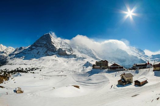 Kleine Scheidegg station, along the railway from Interlaken to Jungfraujoch (3,466 m). In daylight at Switzerland