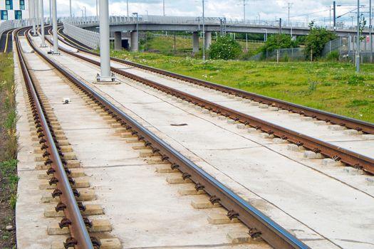 Detail of new modern rails seen in Europe