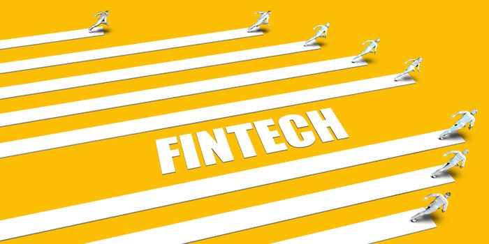 Fintech Concept with Business People Running on Yellow