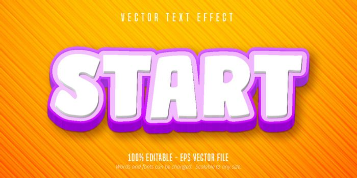 Start text, game style editable text effect