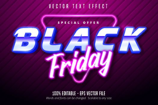 Black friday text, Neon lights signage style editable text effect