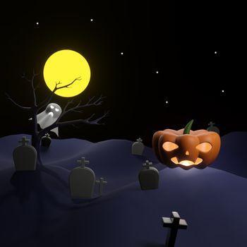 Orange pumpkin on graveyard with full moon and pleiades