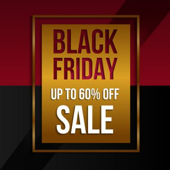 Black Friday sale gold background sale promo banner.Modern design layout template.Shopping day sale offer poster, flyer, card. Vector background.