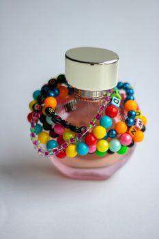 Wooden Beads Bracelet Rainbow Heart on White Background, Isolated Beads on White Background, Wooden Beads Bracelet, Jewelry making, Jewellery Design, Handmade Jewelry, Handmade Beads Bracelet