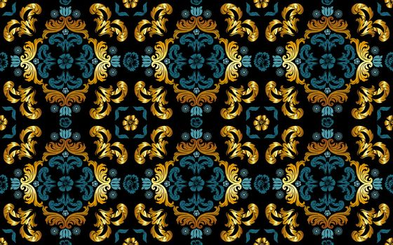 Seamless Floral Pattern in Gold and Blue Tint - Repetitive Texture on Black Background, Vector Illustration