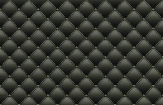 Black Texture of the Leather Quilted Skin - Background Illustration, Vector